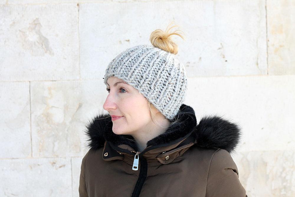 Chunky Knit Messy Bun Hat