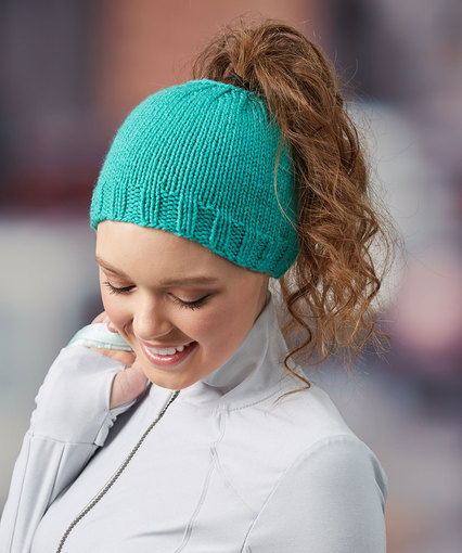 Regular Beanie Style Knit Hat with Messy Bun Hole