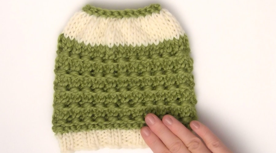Free Pattern for Flat Knitted Messy Bun Hat
