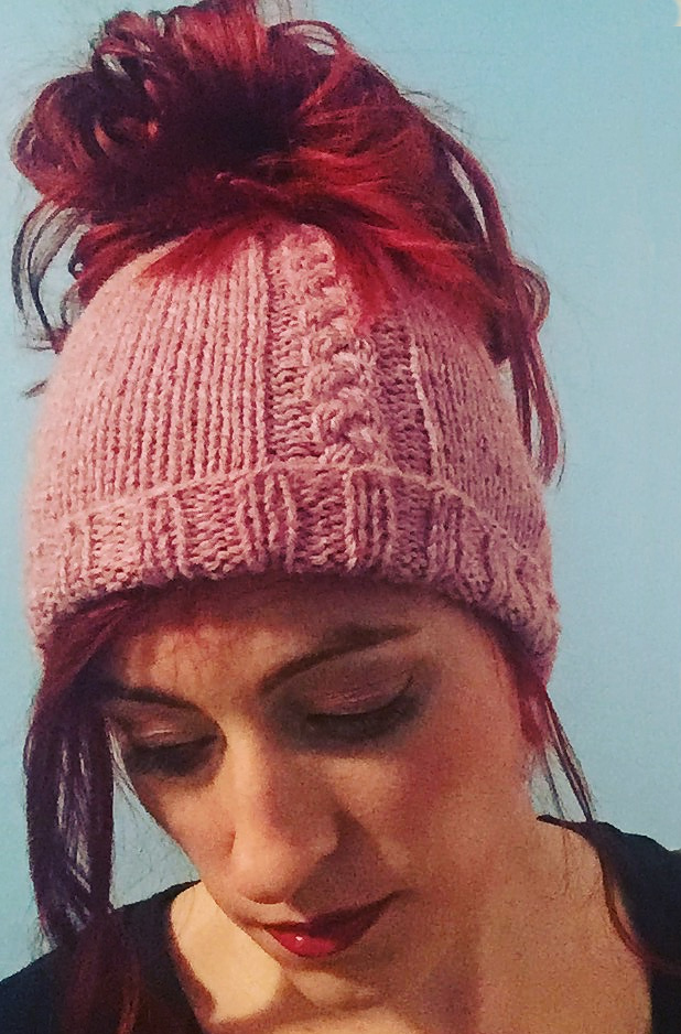 Messy Bun Ponytail Hat with a Single Cable