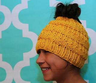 Loom Knit Messy Bun Hat