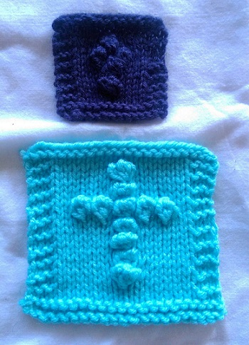 Knitted Prayer Shawl With Cross Pattern