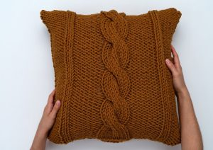 Oversized Throw Toss Pillow Cover Free Cable Knit Pattern
