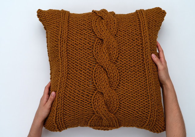 Cable Knit Oversized Throw Toss Pillow Cover Pattern Free