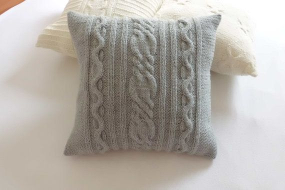 Grey Cable Knit Pillow