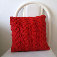 Red Cable Knit Throw Pillow Cover Pattern