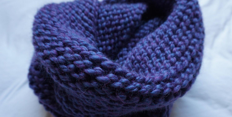 Blue Knit Infinity Scarf