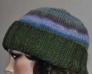 Folded Ribbed Brim Knit Hat Pattern