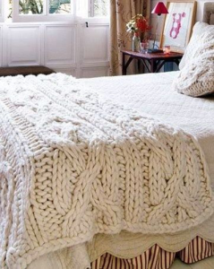 Giant White Cable Knit Throw Pattern