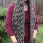 Gray Cable Knit Chunky Hooded Pocket Scarf Pattern