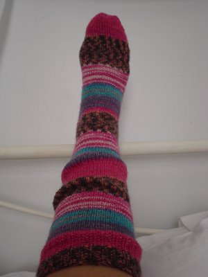 Knee High Hand Knitted Slipper Socks