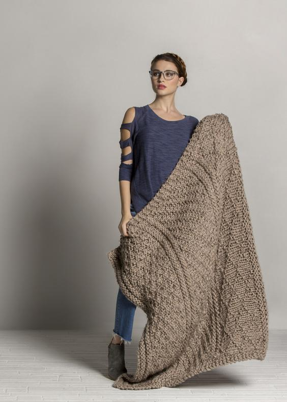 Knitting Pattern for Gray Sweater Throw with Cables