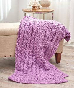Pink Cable Knit Comfort Throw Pattern Free
