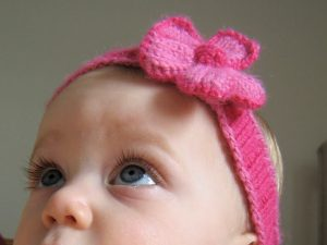Free Knitting Pattern for Baby Headband with Flower