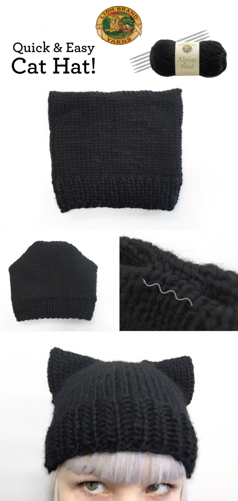 Knit Cat Ear Hat Pattern Free