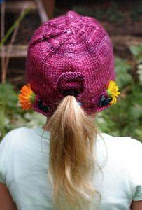 Free Knitting Pattern for Child's Ponytail Hat