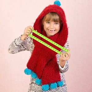 How to Loom Knit a Hooded Scarf