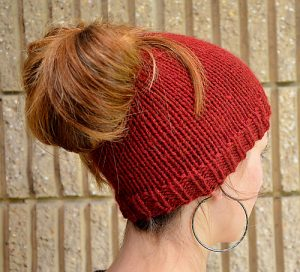 Free Ponytail Knit Hat Pattern With Hole Knitting Things
