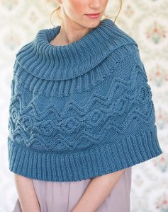 Cable Knit Cowl Neck Poncho Pattern