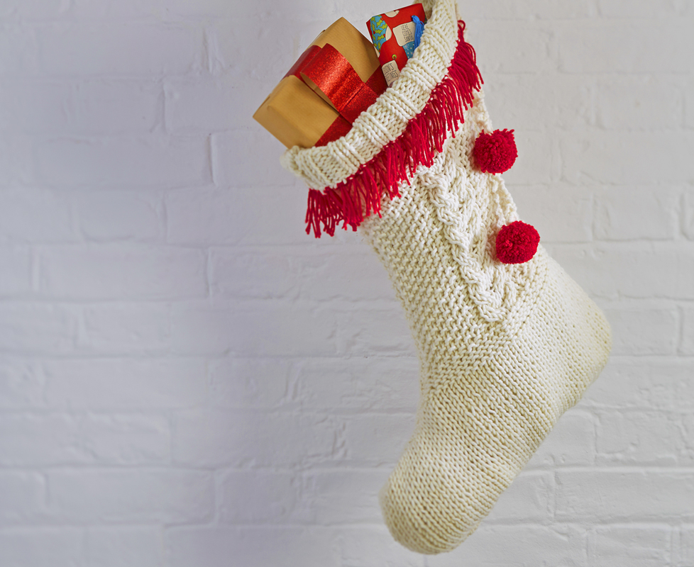 Cream Cable Knit Christmas Stockings