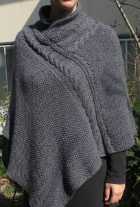 Gray Irish Chunky Neck Cable Knit Poncho