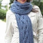Long Blue Chunky Cable Knit Scarf Pattern Free
