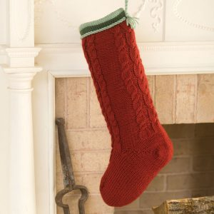 Red Cabled Christmas Stocking Knitting Pattern