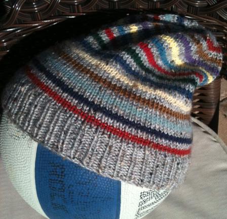 Striped Slouchy Hat Knitting Pattern