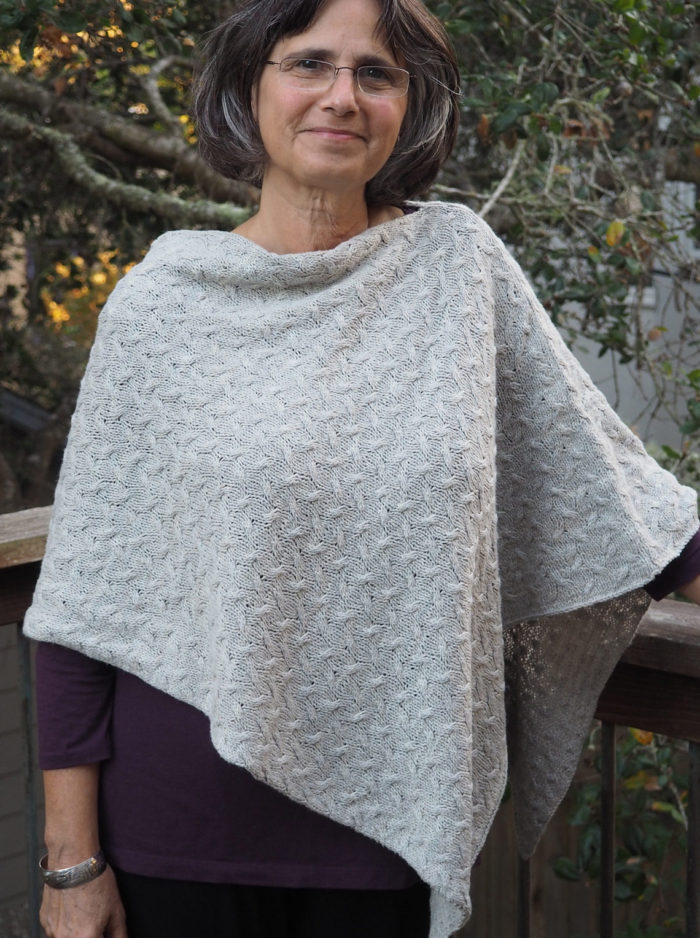 White Cable Knit Poncho